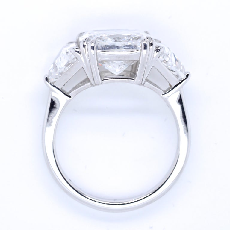 Modern GIA 4.54 Carat Cushion Cut Diamond Three-Stone Platinum Engagement Ring For Sale