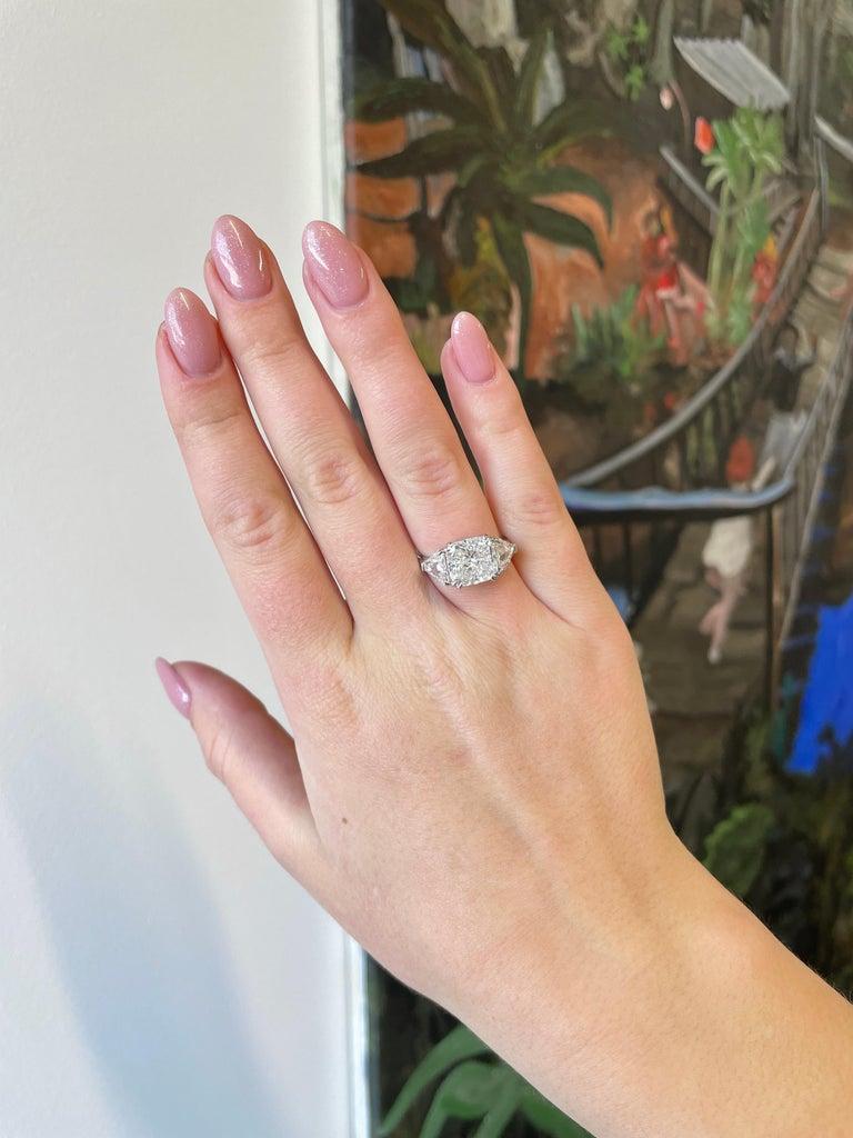 GIA 4.54 Carat Cushion Cut Diamond Three-Stone Platinum Engagement Ring For Sale 2