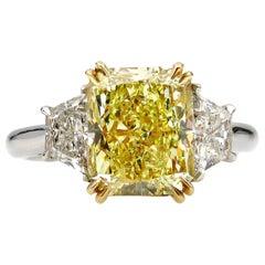 GIA 4.64 Carat Fancy Yellow Cushion Diamond Engagement Wedding Platinum Ring