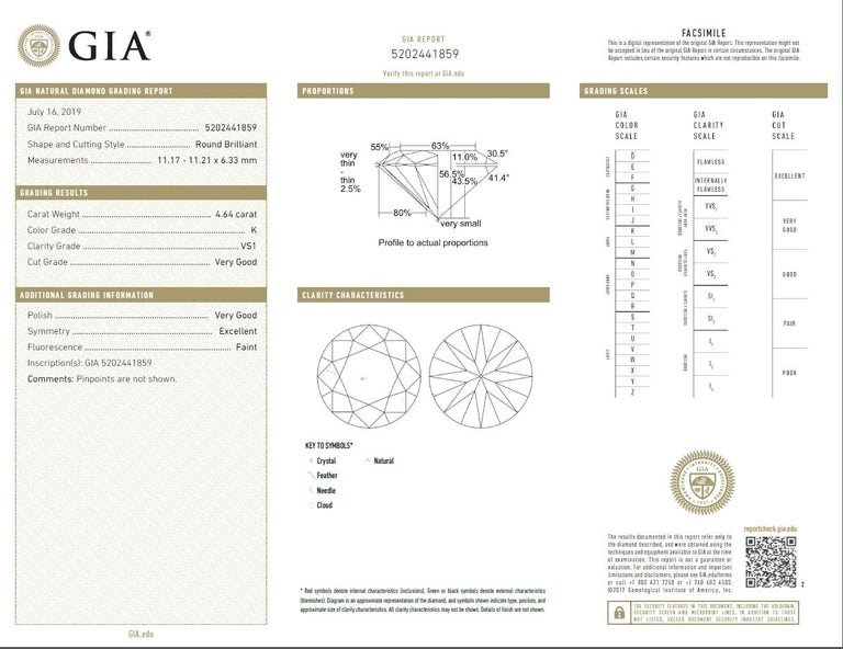 Women's GIA 4.64 Carat K/VS1 Round Brilliant Diamond Platinum 3-Stone Engagement Ring For Sale