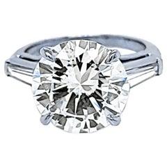 GIA 4.64 Carat K/VS1 Round Brilliant Diamond Platinum 3-Stone Engagement Ring