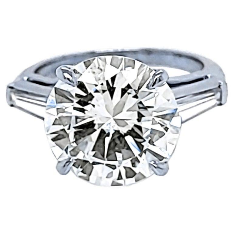 GIA 4.64 Carat K/VS1 Round Brilliant Diamond Platinum 3-Stone Engagement Ring For Sale