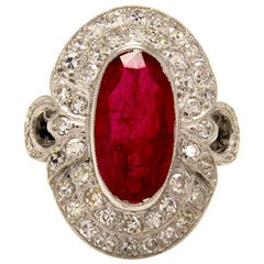 GIA 4.70 Carat Antique Vintage Ruby and Diamond Cluster Ring in 18 Karat Gold