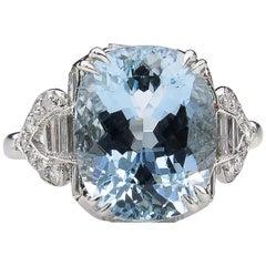 GIA 4.74 Carat Aquamarine Diamond Engagement Wedding Platinum Ring