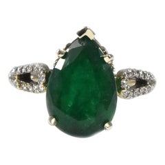 GIA 4.74 Carat Pear Shaped Emerald and Diamond 14 Karat White Gold Ring