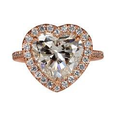 GIA 4.74ct Heart Shaped Diamond Engagement Wedding Pave Halo Rose Gold Ring