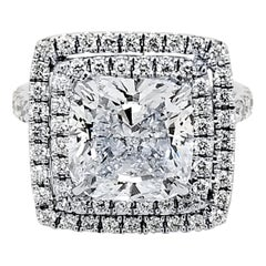 GIA 4.75 Carat I/VS1 Cushion Diamond 18 Karat Double Halo Split Shank Ring