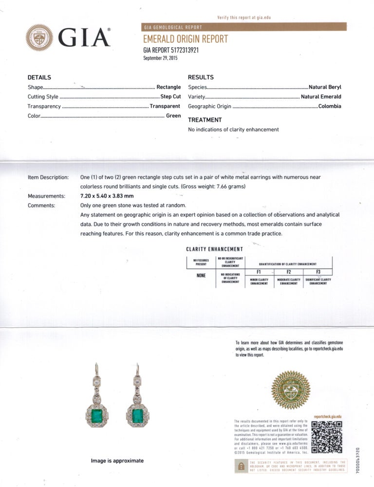 GIA 4.80 Carat Natural Colombian Green Emerald Diamond Drop Earrings Platinum For Sale 6