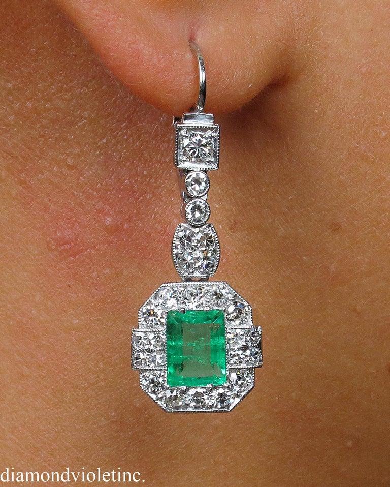 Art Deco GIA 4.80 Carat Natural Colombian Green Emerald Diamond Drop Earrings Platinum For Sale