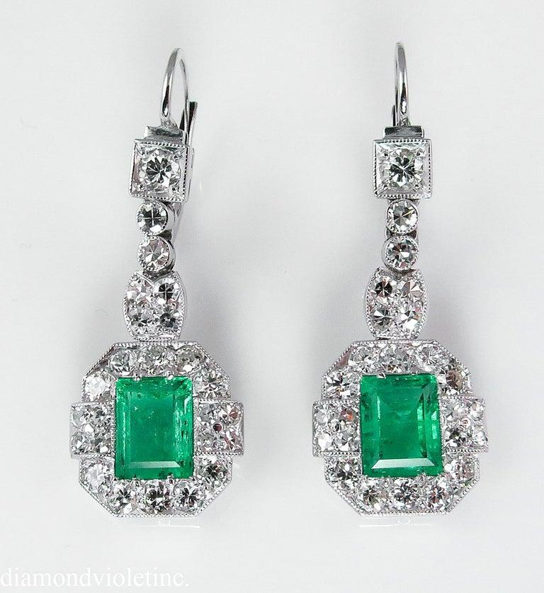 Old European Cut GIA 4.80 Carat Natural Colombian Green Emerald Diamond Drop Earrings Platinum For Sale