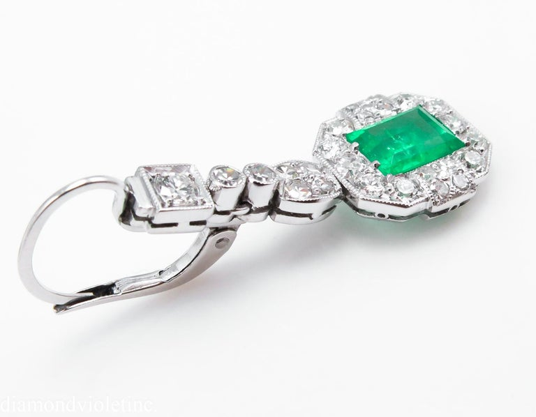 GIA 4.80 Carat Natural Colombian Green Emerald Diamond Drop Earrings Platinum In Good Condition For Sale In New York, NY