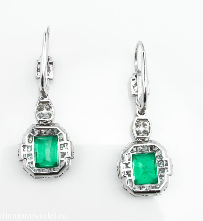 Women's GIA 4.80 Carat Natural Colombian Green Emerald Diamond Drop Earrings Platinum For Sale
