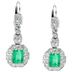 GIA 4.80 Carat Natural Colombian Green Emerald Diamond Drop Earrings Platinum
