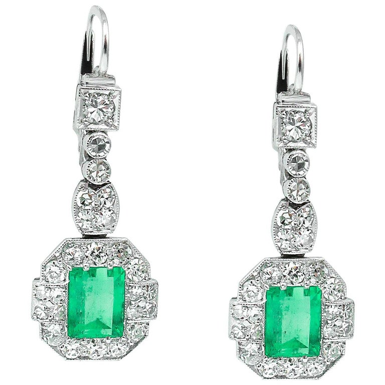 GIA 4.80 Carat Natural Colombian Green Emerald Diamond Drop Earrings Platinum For Sale
