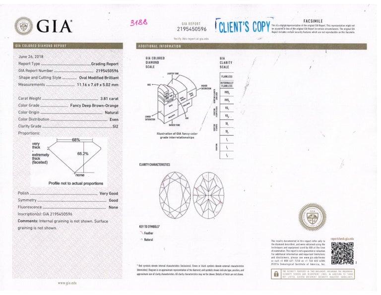 GIA 4.85 Carat Natural Fancy Brown Orange Oval Cut Diamond 3-Stone Platinum Ring For Sale 12