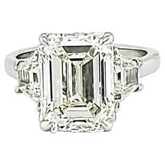 GIA 5 Carat Emerald Cut Diamond and Trapezoid Diamond 3 Stone Platinum Ring