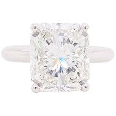 GIA 5 Carat Radiant Diamond Ring, Platinum Solitaire 5.00 Carat Diamond, Sparkle