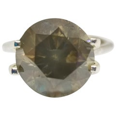 GIA 5.01 Carat Natural Fancy Brown-Greenish Yellow Round Diamond Ring