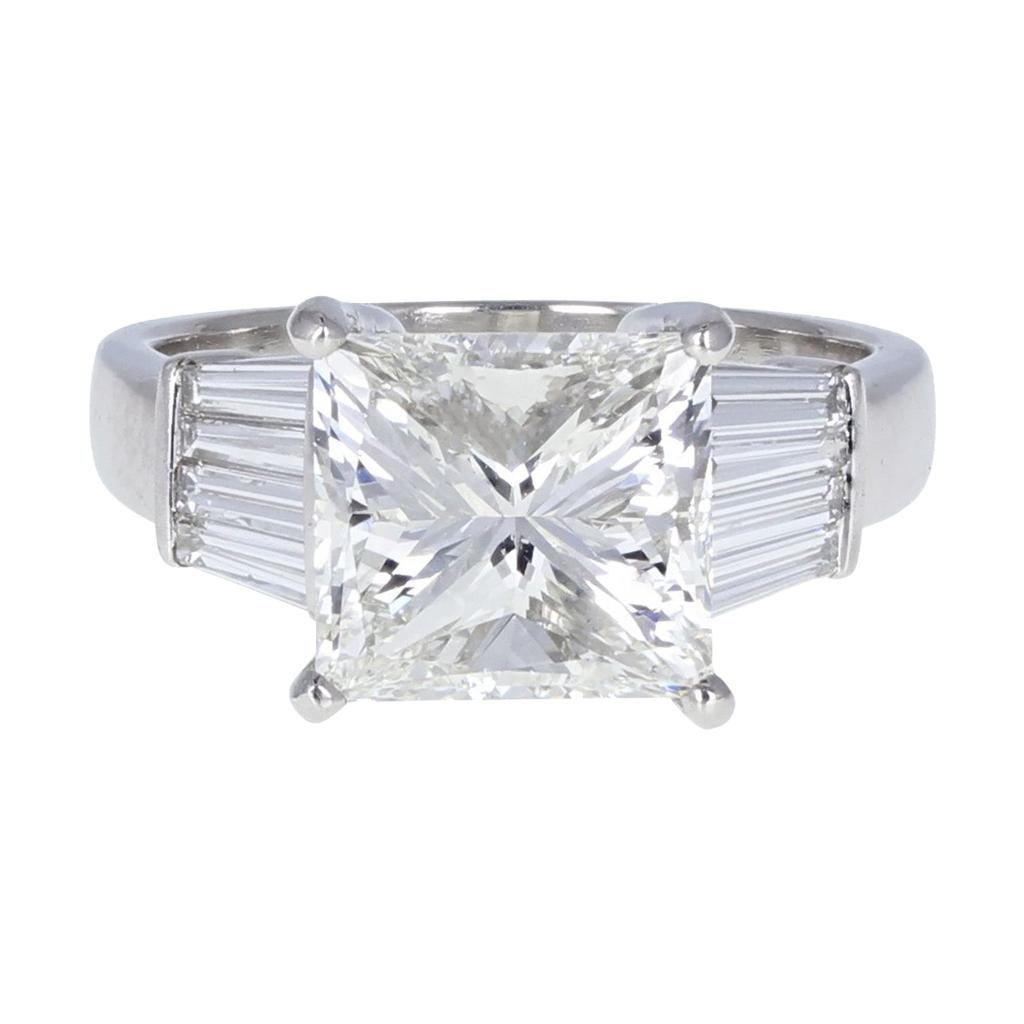 GIA 5.01 Carat Princess Cut Diamond Solitaire Engagement Ring