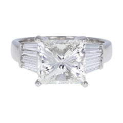 GIA 5.01 Carat Princess Cut Diamond Solitaire Engagement Ring