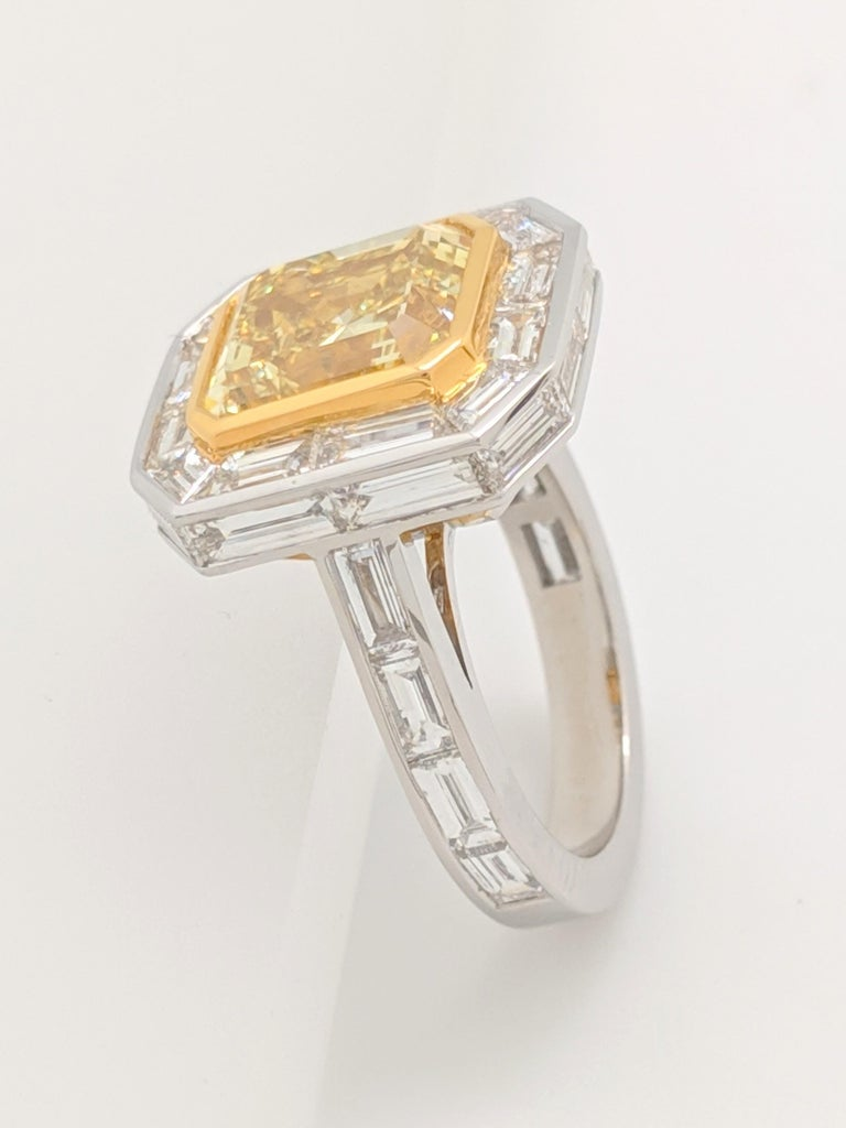 GIA 5.01 Carat Natural Fancy Yellow Emerald Cut Diamond Engagement Ring Platinum For Sale 6