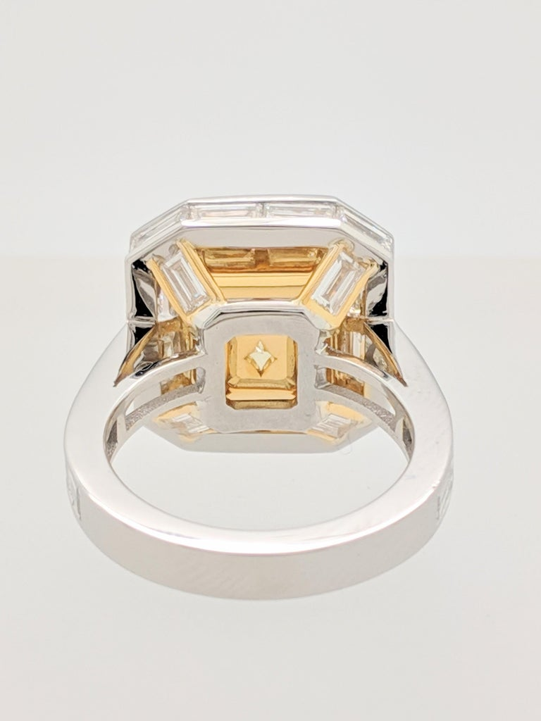 GIA 5.01 Carat Natural Fancy Yellow Emerald Cut Diamond Engagement Ring Platinum For Sale 1