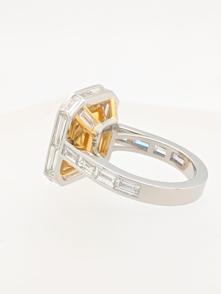 GIA 5.01 Carat Natural Fancy Yellow Emerald Cut Diamond Engagement Ring Platinum For Sale 2