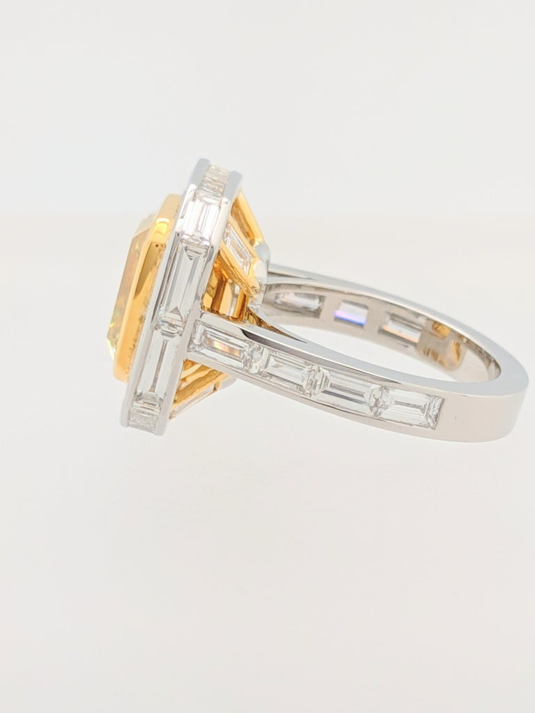 GIA 5.01 Carat Natural Fancy Yellow Emerald Cut Diamond Engagement Ring Platinum For Sale 3