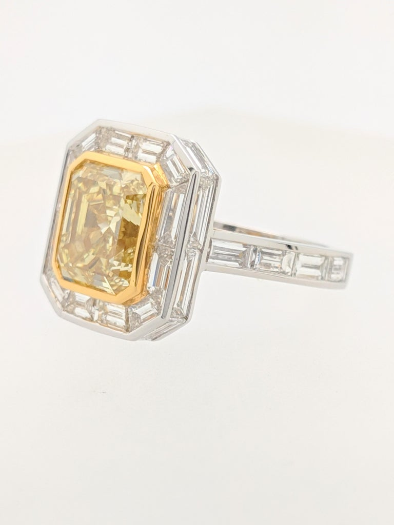 GIA 5.01 Carat Natural Fancy Yellow Emerald Cut Diamond Engagement Ring Platinum For Sale 4