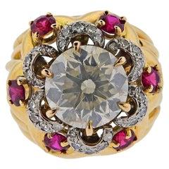 GIA 5.10 Carat K I1 Diamond Ruby Gold Ring