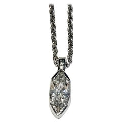 GIA .52 Carat Marquise Diamond Platinum Pendant with Platinum Chain