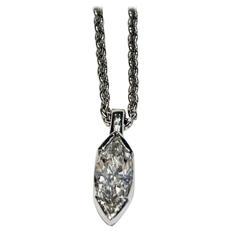 GIA .52 Carat Marquise Diamond Platinum Pendant with Platinum Chain For Sale