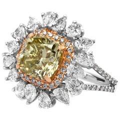 GIA  5.22 Carat Natural Fancy Deep Green Yellow Cushion  And White Diamond Ring