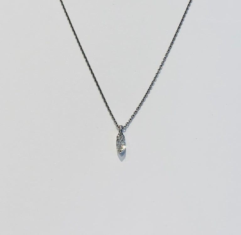 This delicate and elegant Marquise Diamond is set in a clean and modern Platinum setting.  The diamond is GIA certified as being D in Colour and VVS2 Clarity, and measures  8.69 x 4.49 x 2.27.  The D colour is the best that is recognised in the GIA