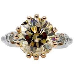 GIA 5.30ctw Natural Fancy Brown Round Cut Diamond Vintage Platinum RoseGold Ring