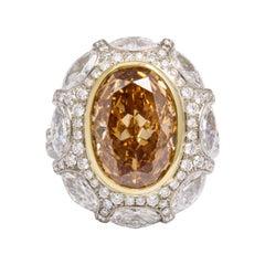GIA 5.34 Carat Fancy Deep Brownish, Yellow Orange Diamond 18 Karat Cocktail Ring