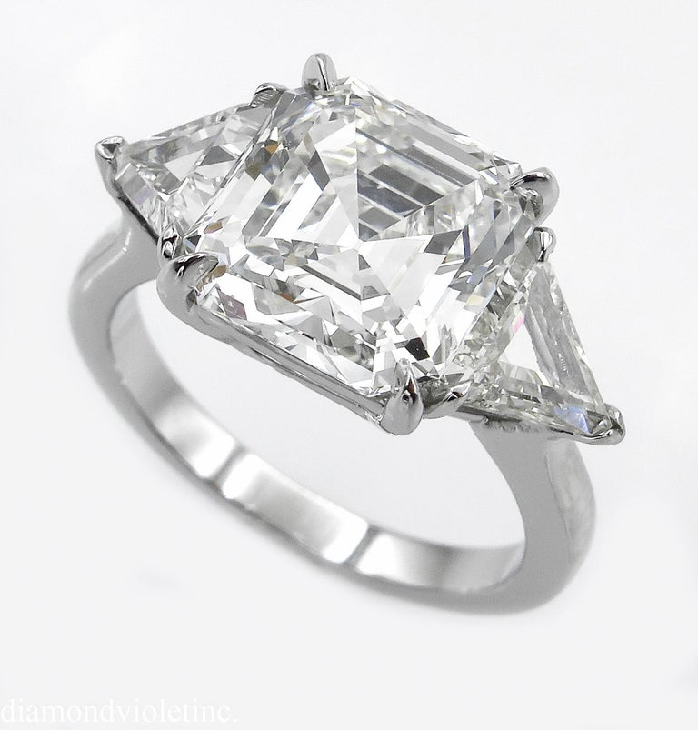 Asscher Cut GIA 5.35 Carat Asscher Diamond 3-Stone Engagement Wedding Platinum Ring For Sale