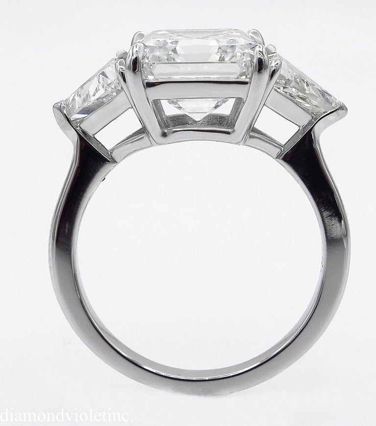 Women's GIA 5.35 Carat Asscher Diamond 3-Stone Engagement Wedding Platinum Ring For Sale