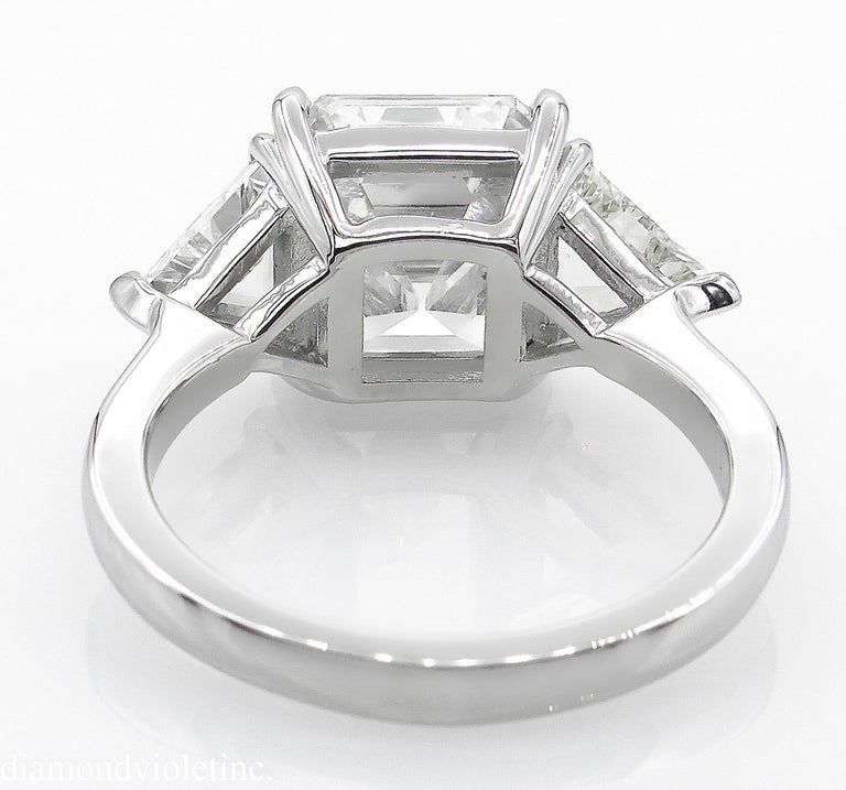 GIA 5.35 Carat Asscher Diamond 3-Stone Engagement Wedding Platinum Ring For Sale 2