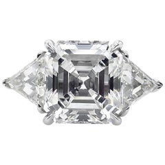 GIA 5.35 Carat Asscher Diamond 3-Stone Engagement Wedding Platinum Ring