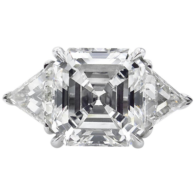 GIA 5.35 Carat Asscher Diamond 3-Stone Engagement Wedding Platinum Ring For Sale