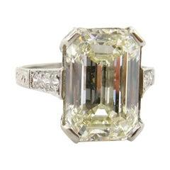 G.I.A. 5.38 Carat Emerald Cut Diamond Art Deco Style Ring