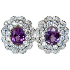 GIA 5.40 Carat No Heat Vivid Purple Pink Sapphires Diamond Earrings Unheated