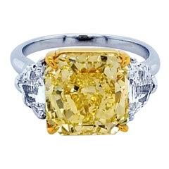 GIA 5.46Ct Fancy Intense Yellow Radiant Diamond 3-Stone Platinum Engagement Ring