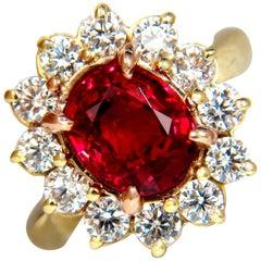 GIA 5.49 Carat No Heat Vivid Red Spinel Diamond Ring 18 Karat Unheated Investors