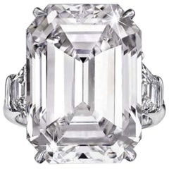 GIA 5.50 Carat Emerald Cut Diamond Platinum Ring