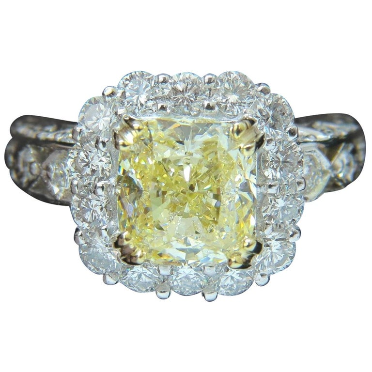 ed8f35ad778 GIA 5.52 Carat Cushion Natural Fancy Yellow Diamond Cluster Halo Ring VVS1  For Sale
