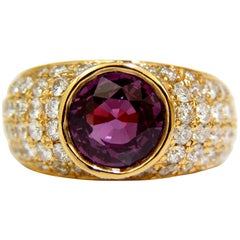 GIA 5.52 Carat Natural Purple Pink Sapphire Diamond Ring 14 Karat Prime