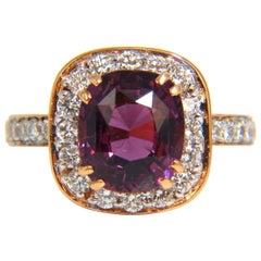 GIA 5.54 Carat Natural No Heat Red Purple Spinel Diamonds Ring 18 Karat Unheated