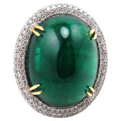 GIA 55.40 Carat Oval Green Emerald Caboshon Diamond Pave White Gold Ring